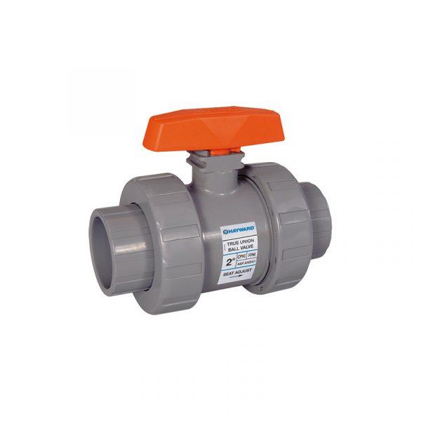 Serie TB – Válvula de Bola o Esfera Tipo Doble Unión de 1/4″ a 6″ en PVC, CPVC. De 1/2″ a 2″ en Polipropileno, Y de 1/2″, 3/4″, 1″ en PVDF Marca Hayward