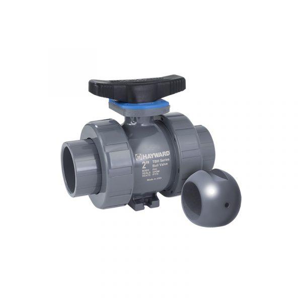 Serie TBH-Z (Z-Ball) – Válvula de Bola o Esfera Tipo Doble Unión para Hipoclorito de Sodio de 1/2″ a 6″ en PVC y CPVC Marca Hayward